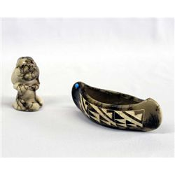 Navajo Horsehair Pottery Brave Child and Canoe