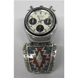 Navajo Turquoise Coral Inlay Silver Watch Band
