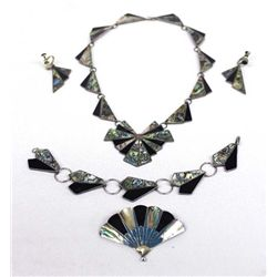 Mexican Sterling Abalone Jet Turquoise Jewelry