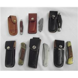Collection of Pocket Knives in Leather Case