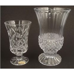 2 Elegant Lead Crystal Vases Small 7 & 9 Inches Tall