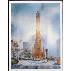 Tom Lynch Chicago Water Tower Art Print