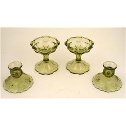 2 Pairs Fenton Short & Tall Green Candle Stick Holders
