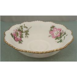 White Glass Bowl w/ Pink Flowers Transfer & Gold Rim