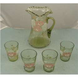 Victorian Art Glass Pitcher & 4 Glasses -Green, Pink