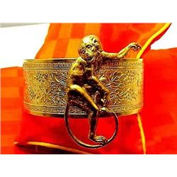 Vintage Art Nouveau Brass Womens Cuff / Bangle Monkey B