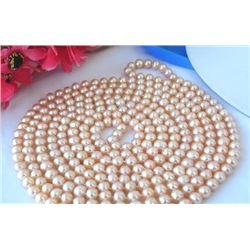 LONG 100~ 9MM PINK ROUND RESHWATER CULTURED PEARL NECKL