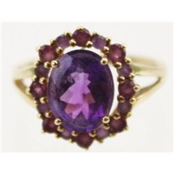 ET0503120052 LADIES 10K GOLD AMETHYST CLUSTER COCKTAIL