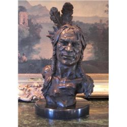 Large Bronze Sculpture Native American Chief Bus