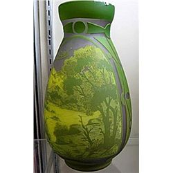 Galle Signed Vase in Green with Nature Scene