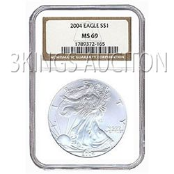 Certified Uncirculated Silver Eagle 2004 MS69