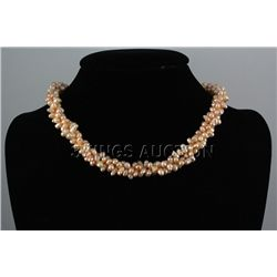 "333.4CTW 18"" PEACH RICE PEARL NECKLACE METAL LOCK PHILI"