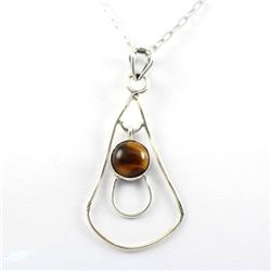 17.ctw Tiger Eye Yellow Gemstone Silver Pendant