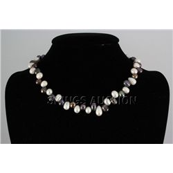 "242.4CTW 18"" WHITE-BLACK FRESHWATER PEARL NECKLACE META"