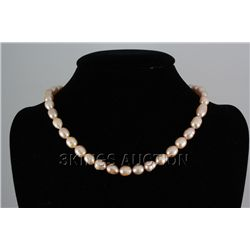 "239.53CTW 18"" PEACH FRESHWATER PEARL NECKLACE METAL LOC"