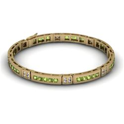 Peridot 2.96 ctw & Diamond Bracelet 14kt W OR Y Gold