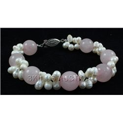 "137.21CTW 8"" PETAL PINK FRESHWATER PEARL WITH CORAL BRA"