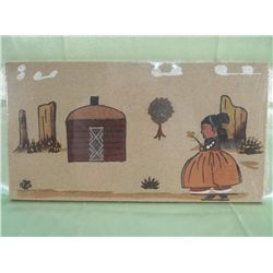 Navajo Girl & Her Home Sand Painting - New
