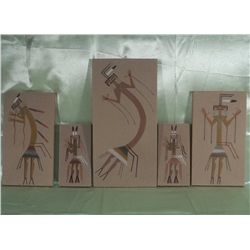 5 Unframed Navajo Sand Paintings