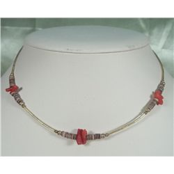 Native Choker Necklace - Coral, Shell & Brass