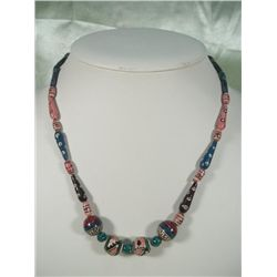 Vintage Native Painted Wood Bead Necklace