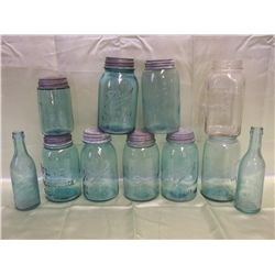 Vintage Aqua & Clear Canning Jars & 2 Bottles