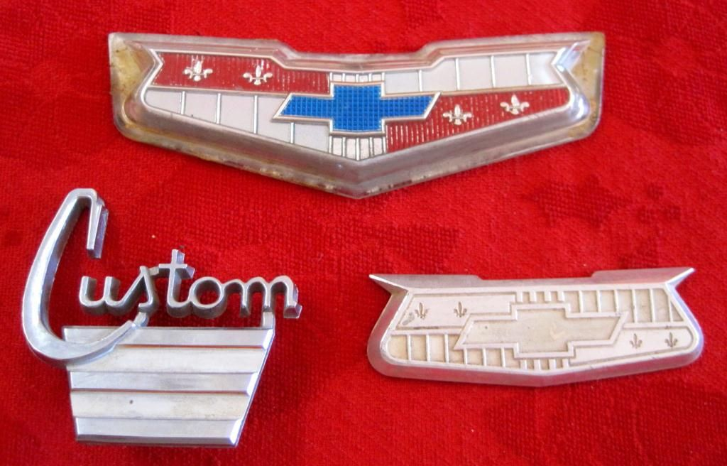 lot of 3 vintage 195060s chevrolet car emblems