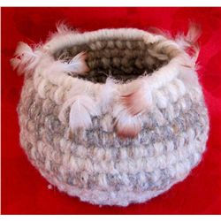 Navajo Native American Sheep Wool Basket