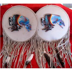 Pair Native American Leather Wall Hanging