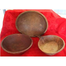 3 Vintage Primitive Wood Dough Bowls