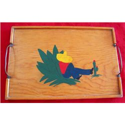 Vintage Hand Painted Mexican Siesta Wood Tray