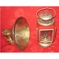 Vintage Brass Miners Lamp & Decorative Lantern
