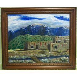 "Framed Original Oil Painting - ""Pueblo Alto"""