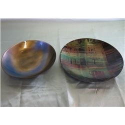 2 - Enamel Over Copper Plates Or Shallow Bowls