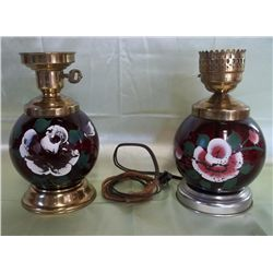 2 Hand Painted Cranberry Glass Lamps