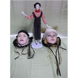 Carnival Decorated Ceramic Faces & Mime Doll