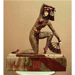 "Chiparus - ""Fan Dancer"" -Bronze And Ivory Sculpture"