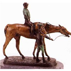 """Jockey & Groom"" Bronze Sculpture - Good"