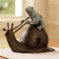 Snail Riding Frog Sculpture