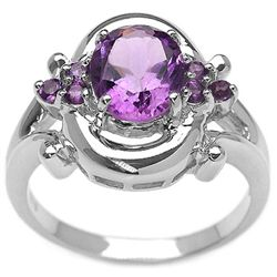 2.10 Carat Genuine Amethyst .925 Sterling Silver Ring