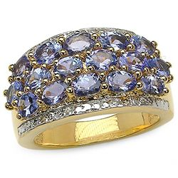 2.80 Carat Genuine Tanzanite & White Topaz 14K Yellow Gold Plating .925 Sterling Silver Ring
