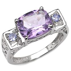 2.60 Carat Genuine Amethyst & Tanzanite .925 Sterling Silver Ring