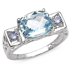 3.50 Carat Genuine Blue Topaz & Tanzanite .925 Sterling Silver Ring