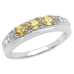 0.76 Carat Genuine Yellow Sapphire & White Diamond .925 Sterling Silver Ring
