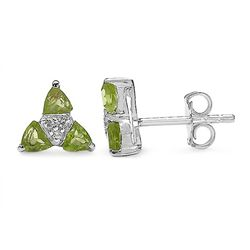 0.96 Carat Genuine Peridot & White Topaz .925 Sterling Silver Earrings