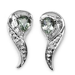 0.40 Carat Genuine Green Sapphire & White Diamond .925 Sterling Silver Earrings