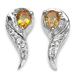 0.40 Carat Genuine Yellow Sapphire & White Diamond .925 Sterling Silver Earrings