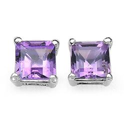 1.20 Carat Genuine Amethyst .925 Sterling Silver Earrings