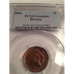 1864 INDIAN HEAD PENNY, AU, PCGS GRADED GENUINE