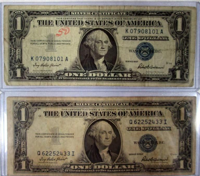 1935 And 1957 Silver Certificate Dollar Bills